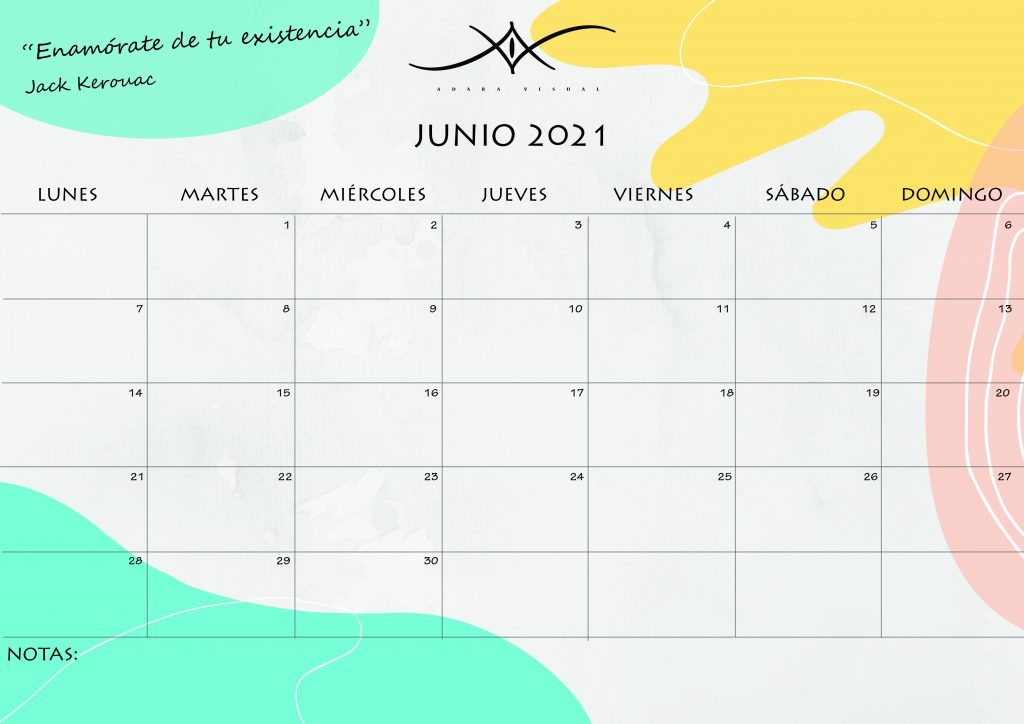 calendario junio 2021 de adara visual