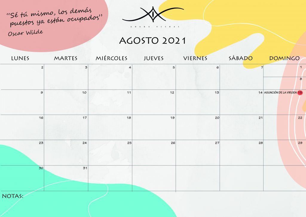 calendario agosto 2021 de adara visual