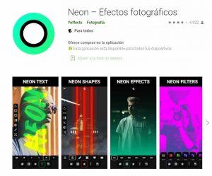 efectos neon para tus fotos